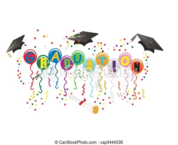 clip art vector of graduation ballons
