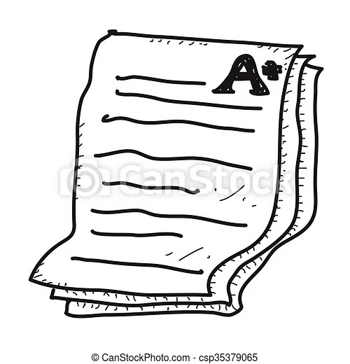 Clip Art Vector of Simple doodle of an exam paper showing