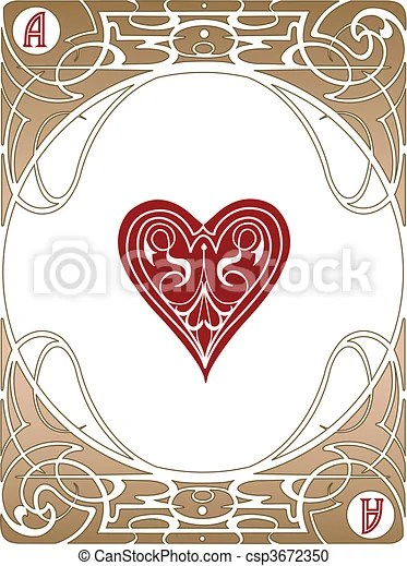 Vector Clipart of Heart Ace Card LIberty style poker