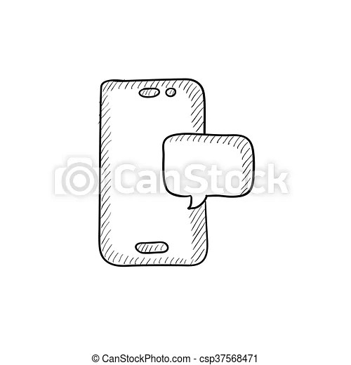 Vectors Illustration of Touch screen phone with message
