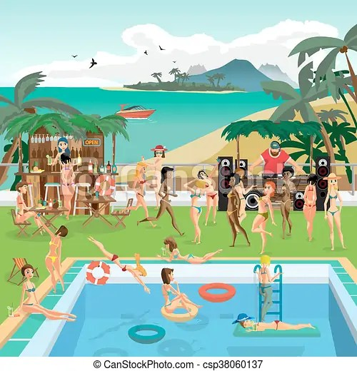 vectors of party outdoor swimming