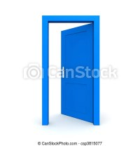 Stock Illustrations of Open Single Blue Door - single blue ...