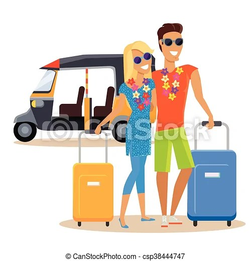 couple summer vacation travel illustration