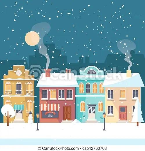 vector clipart of snowy christmas