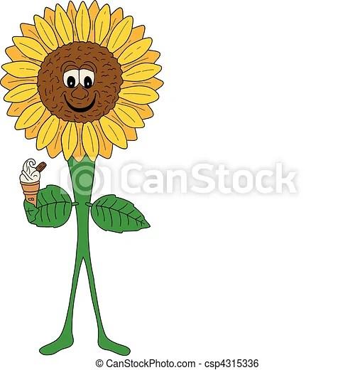 clip art vector of smiling sunflower