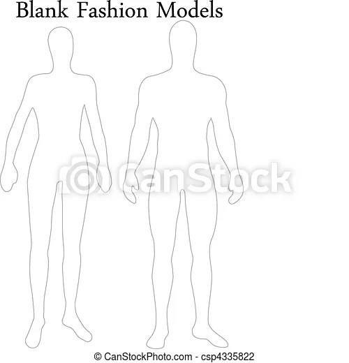 Vector Illustration of Set of Blank Male and Female