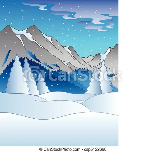 Vector Clipart of Winter landscape with hills vector