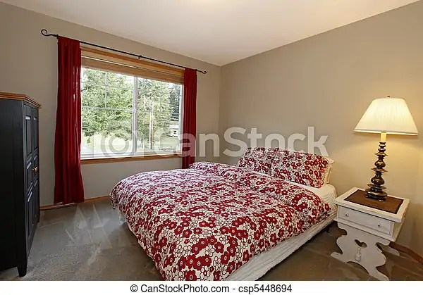 Stock Foto van slaapkamer rood bed bruine Muren