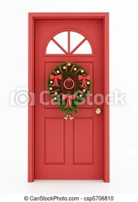 Stock Photography of entrance door with christmas wreath ...