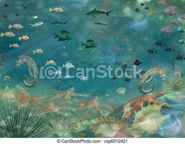 Clipart Of Under Seascape Sea Life Csp6012421 Search
