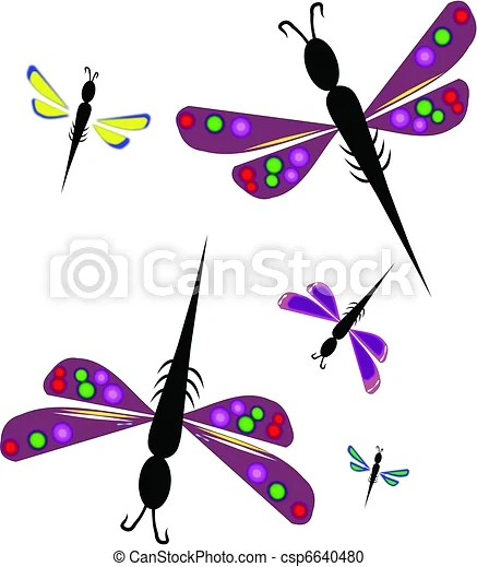 vector clipart of dragonflies