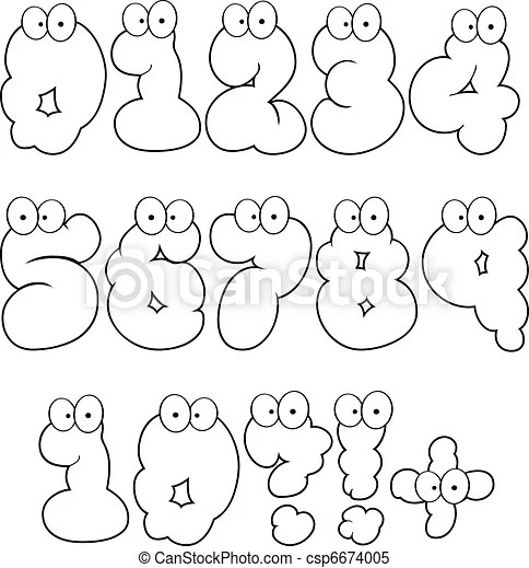 Clipart Vector of Outlined Numbers-Vector Collection