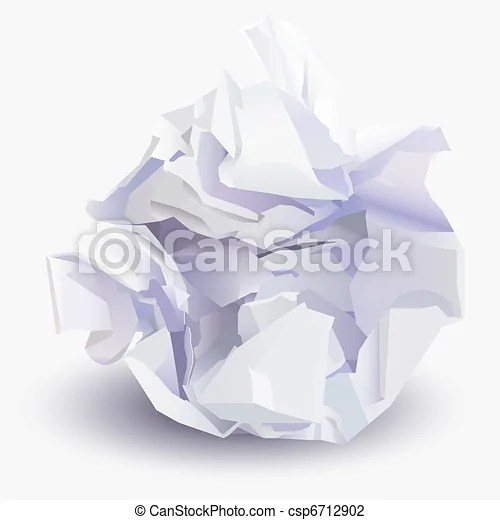Vector Illustration of Crumpled sheet of paper to paper