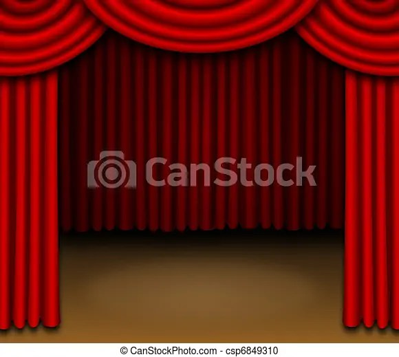 Stock Illustration Of Stage With Red Draped Curtains This Illustration Features Csp6849310