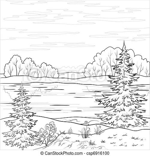Vector Clipart of Landscape. Forest river, outline