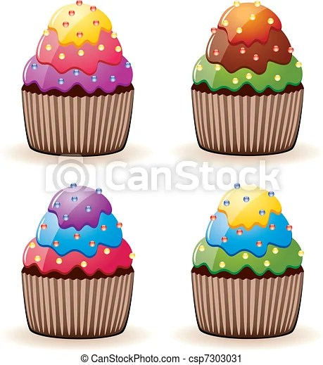 vector clip art of colorful cupcakes