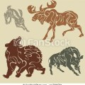 Clip art of wild forest animals abstract silhouette forest animals