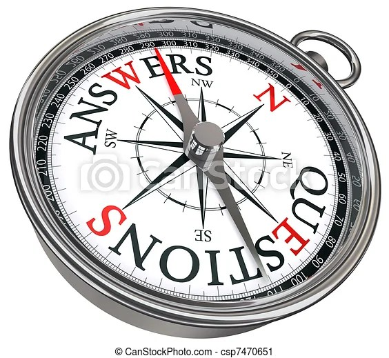 Clipart of answers vs questions concept compass with black