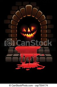 EPS Vector of halloween terrible door bloody entrance and ...