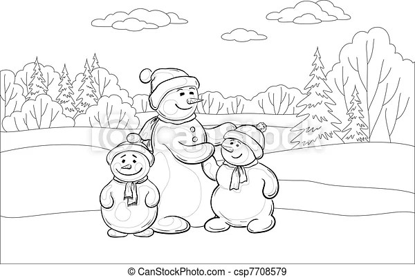 EPS Vectors of Snowmens mother and children, contours