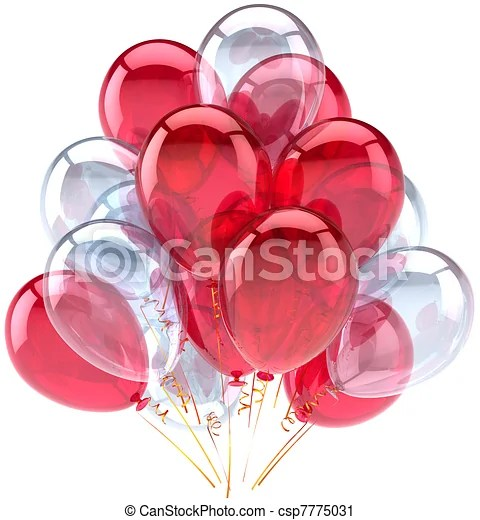 clipart of birthday balloons red