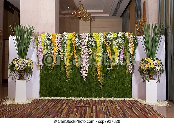Pictures of flowers backdrop decorate for wedding ceremony