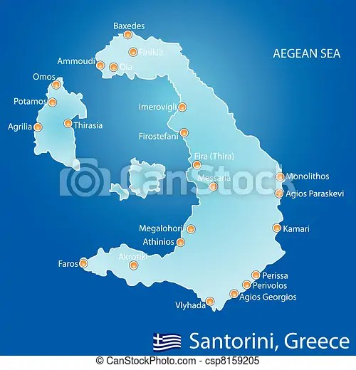Clipart Vector of Island of Santorini in Greece map on
