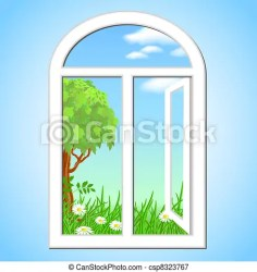 window open clip clipart spring landscape illustration graphics drawing vector graphic canstockphoto