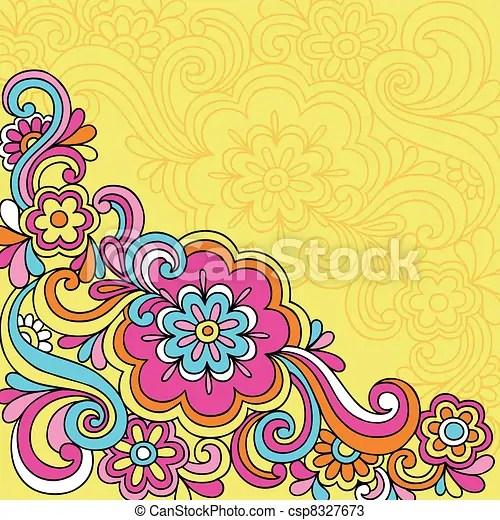 Vectors Of Psychedelic Flower Notebook Doodles Hand