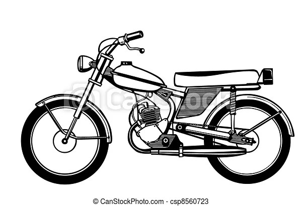 Drawings of silhouette moped on white background