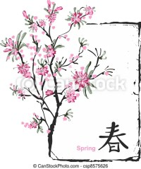 Clip Art Vecteur de sakura, fleur - japonaise, peinture ...