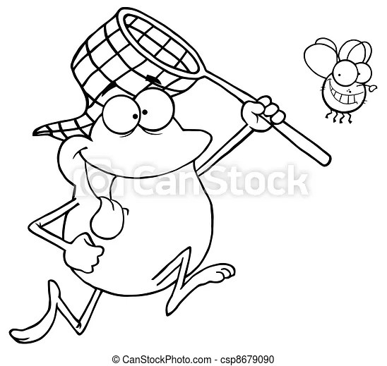 Vector Clipart of Outlined Frog Chasing Fly With A Net