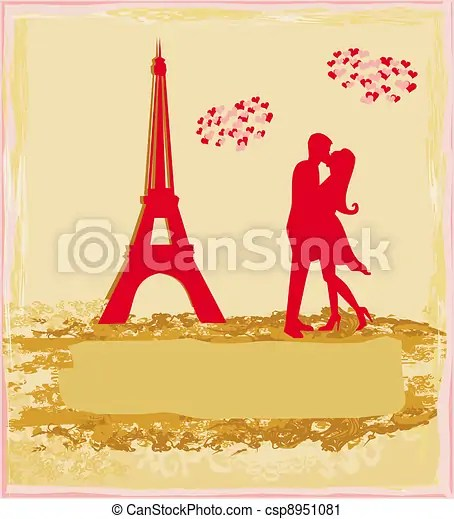 clipart of romantic couple in paris