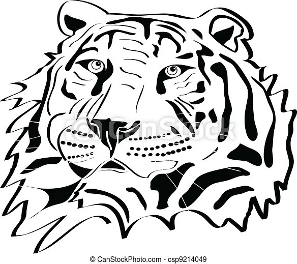 Tiger head tattoo silhouette - csp9214049