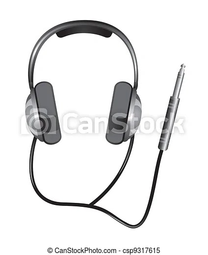 Clipart Vector of headphones with jack plug isolated over