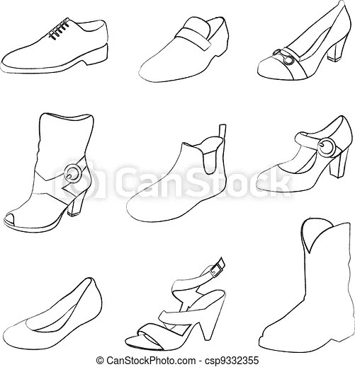 Clipart Vector of Men and women shoes silhouettes isolated