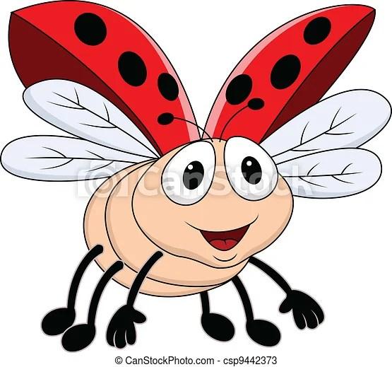 vectors of lady bug flying - vector