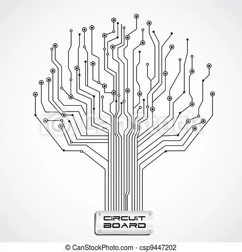 Vector Illustration of circuit board shaped tree, vector