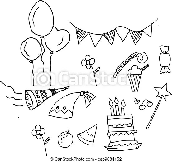 Vector Illustration of cute birthday party set isolated