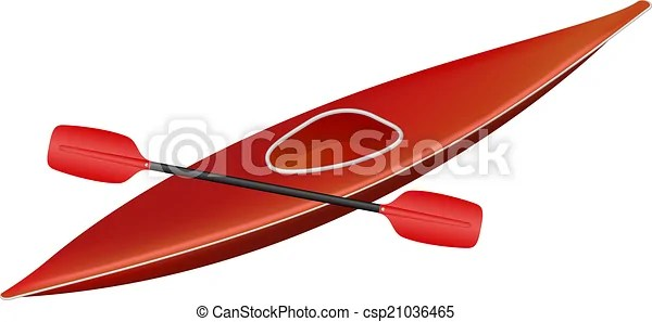 canoe with paddle. in red