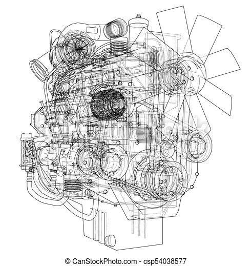 Car engine. vector rendering of 3d. Car engine. vector
