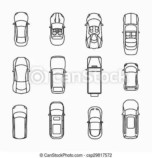 Car icons top view set. automobile and vehicle, vector