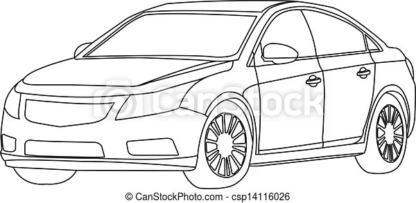 The car outline vector isolate on white