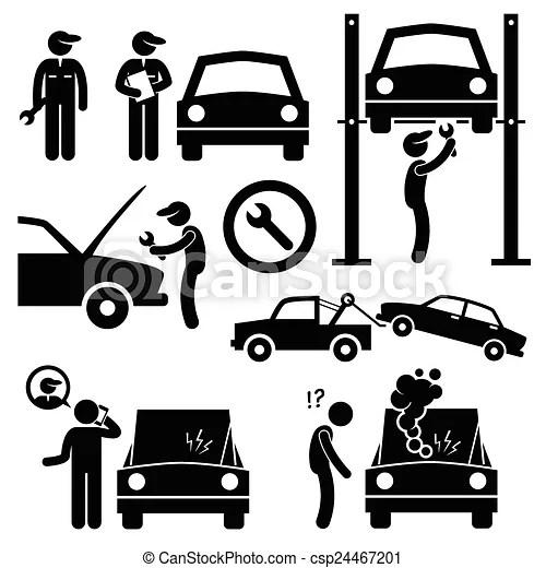 Car repair workshop mechanic. A set of human pictogram