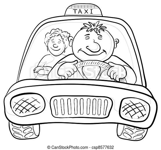 Car with driver and passenger, contours. Cartoon, car taxi