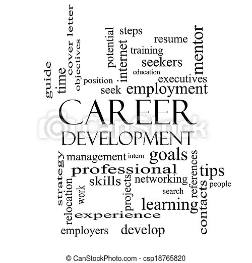 Career development word cloud concept in black and white