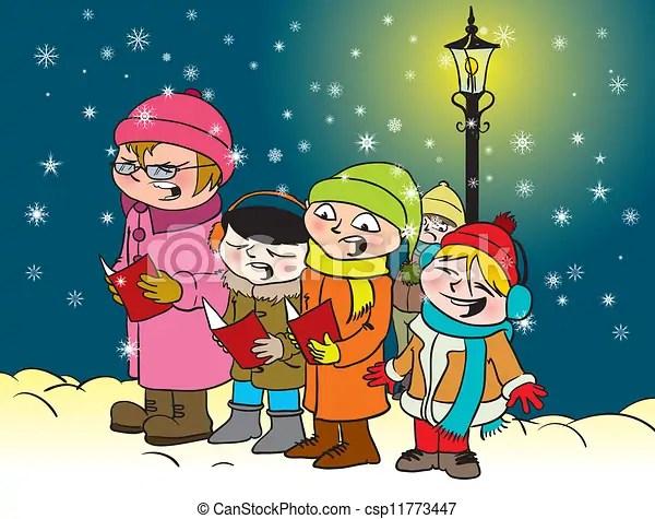caroling kids. vector illustration