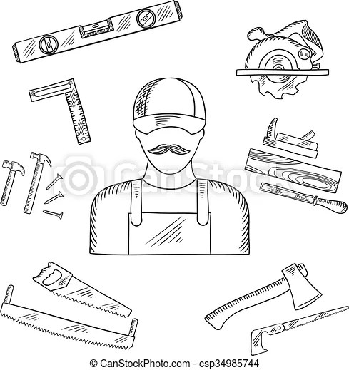 Carpenter and toolbox tools sketches with hammer, file