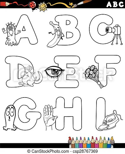 Cartoon alphabet coloring page. Black and white cartoon