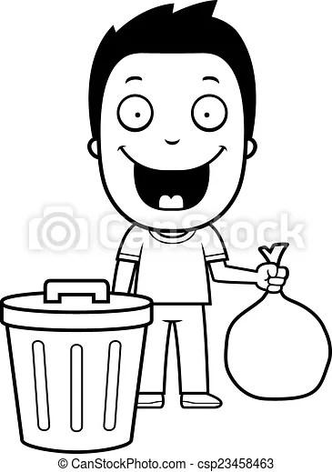 Cartoon boy trash. A happy cartoon boy taking out the